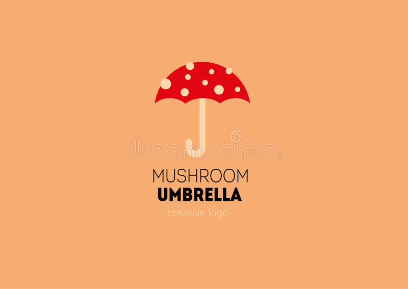 Logo mit einer doppelten Bedeutung, Regenschirm in Form eines Pilzes stock abbildung