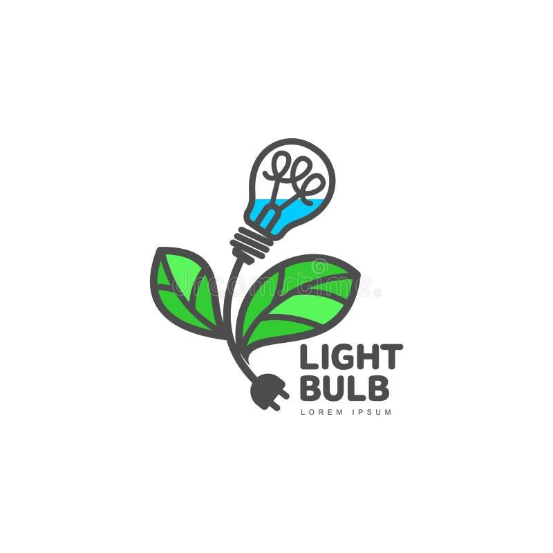Logo mit Glühlampe als Blume, Ökologie, Wachstum, Entwicklungskonzept vektor abbildung