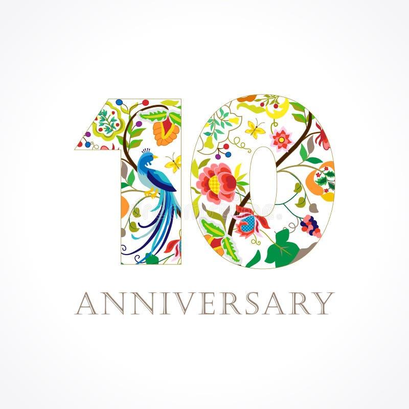 Logo mit 10 Jahrestagsvölkern lizenzfreie abbildung