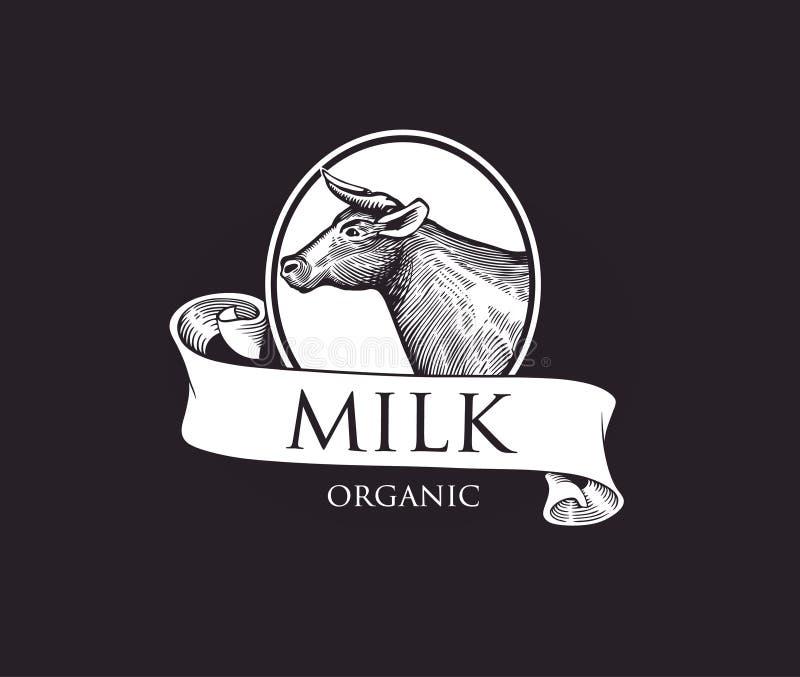 Logo mit Kuhschattenbild in einer Miniatur mit Bändern Kuhvektorillustration Kuhillustration in der Weinlese-Stich-Art Schmutz-La stock abbildung