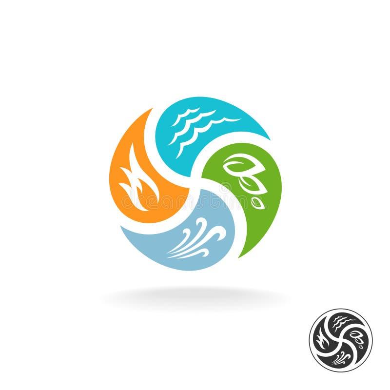 Logo mit vier natürliches Elementen Feuer, Wasser, Luftwind und Natur lizenzfreie abbildung