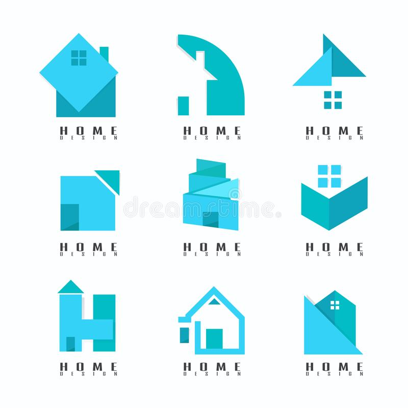 Logo Modern home blue Collection. Creative. Abstract. symbol. vector illustration. on white background royalty free illustration
