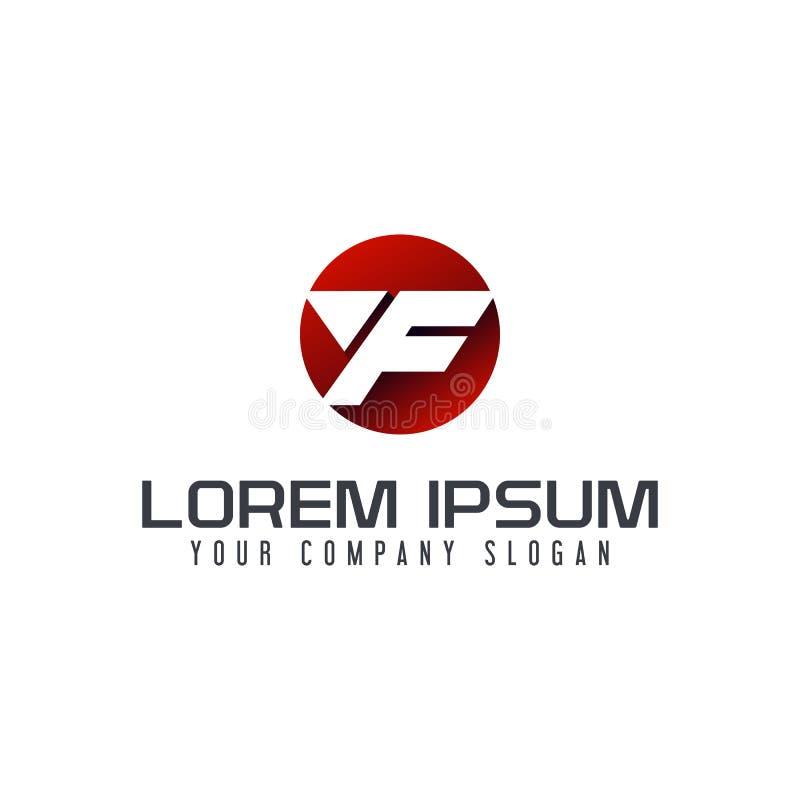 Logo moderne de la lettre F calibre de concept de construction de cercle illustration de vecteur