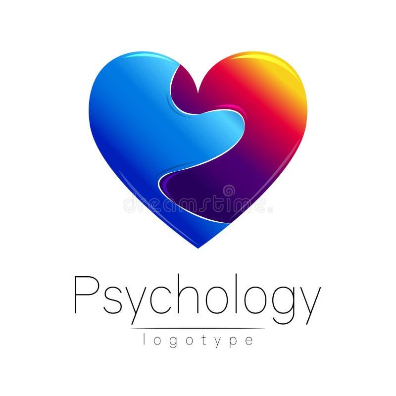 Logo moderne de la psychologie Coeur cassé Type créateur Logotype dans le vecteur Concept de construction Société de marque Bleu  illustration de vecteur