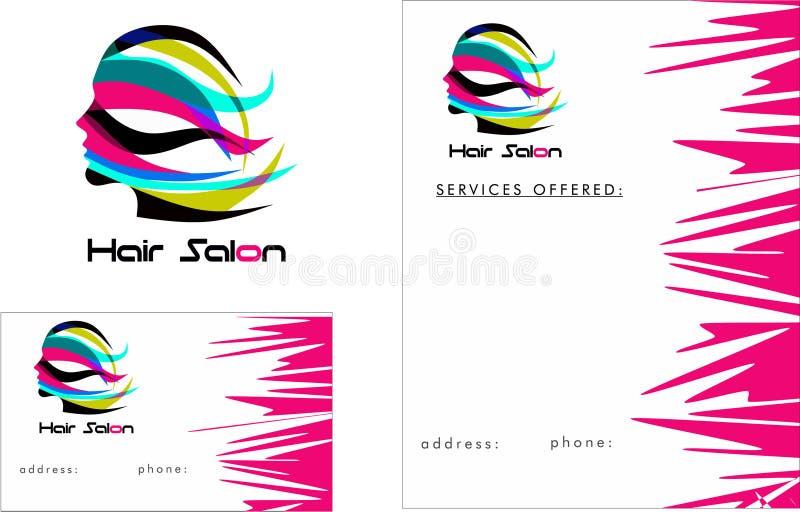 Logo moderne de salon de coiffure, carte de visite professionnelle de visite 2 x 3 5, insecte 4 25 x 5 5 illustration libre de droits