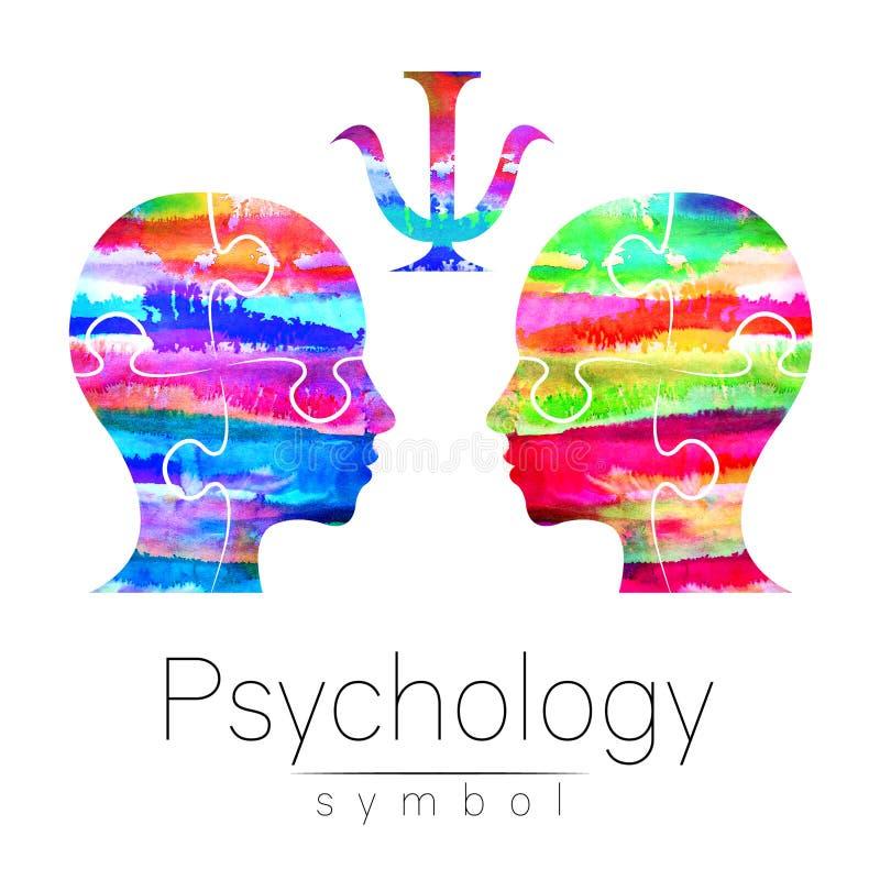 Logo moderne de tête d'aquarelle de la psychologie Humain de profil Type créateur Logotype dedans Concept de construction Société illustration stock