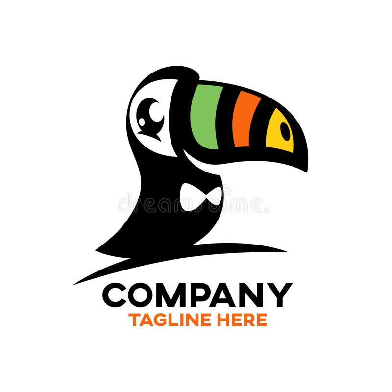 Logo moderne de toucan d'oiseau illustration stock