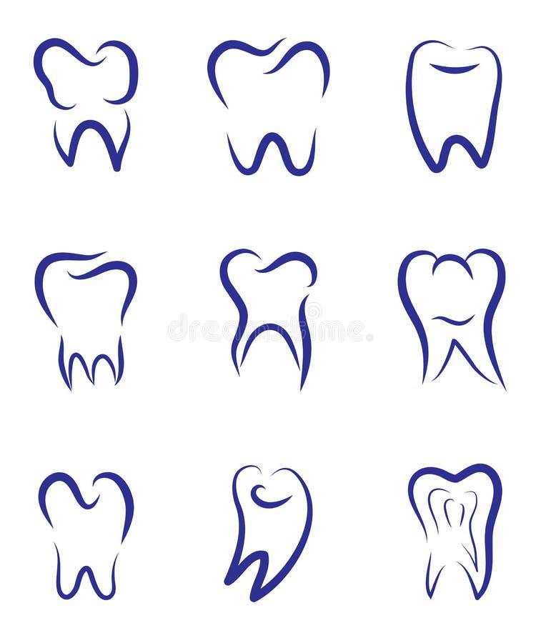 Logo moderne réglé de vecteur pour l'art dentaire Logo pour la clinique dentaire illustration libre de droits