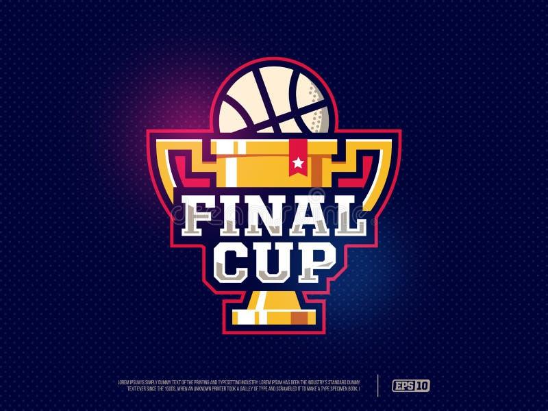 Logo moderno della tazza di pallacanestro professionale per lo sport di squadra illustrazione vettoriale