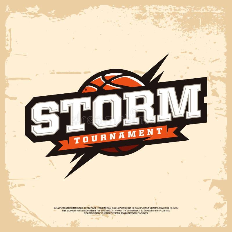 Logo moderno di pallacanestro professionale per lo sport di squadra illustrazione vettoriale