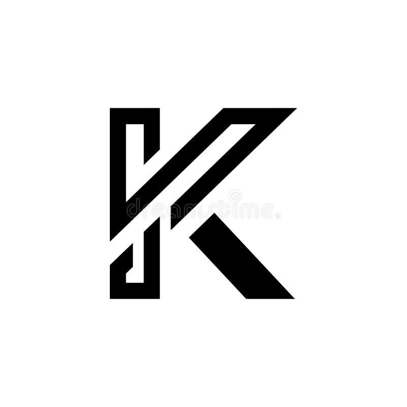 Logo moderno, lussuoso, lettera K, bianco e nero, lettera K, logo minimalist Elegant Line royalty illustrazione gratis