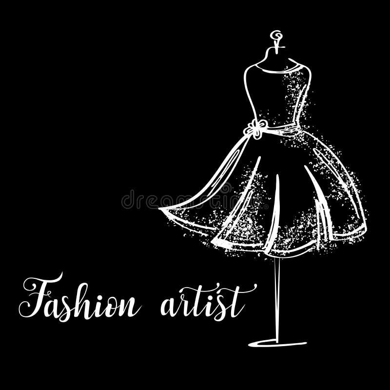 Logo mody studio Obyczajowa handmade kaligrafia, wektoru szczotkarski literowanie dla moda salonu ilustracji