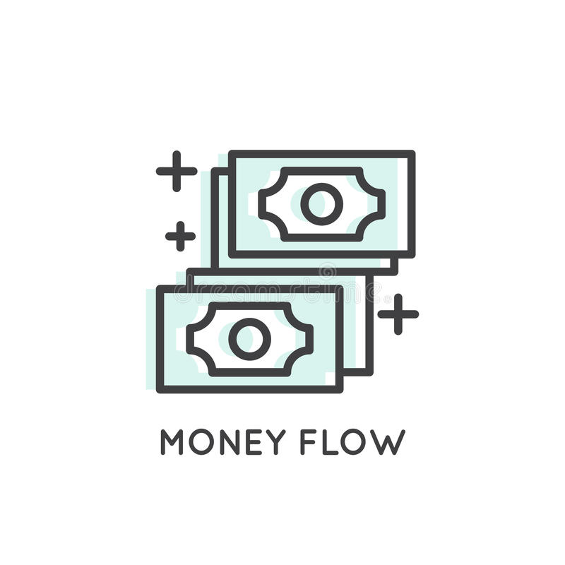 Logo of Money Flow, Income, Merchant Platform, Growth royalty free illustration