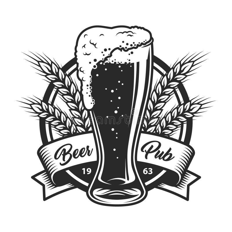 Logo monochrome de bar de bière de vintage illustration stock