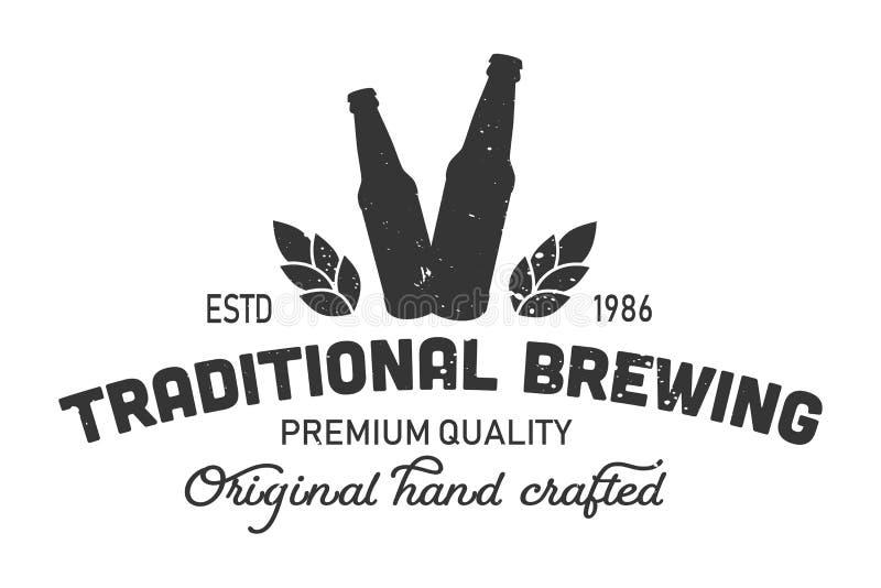 Logo monochrome de brassage traditionnel de vintage illustration de vecteur