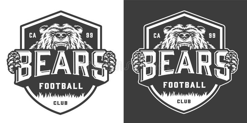 Logo monochrome de mascotte d'équipe de football de cru illustration libre de droits