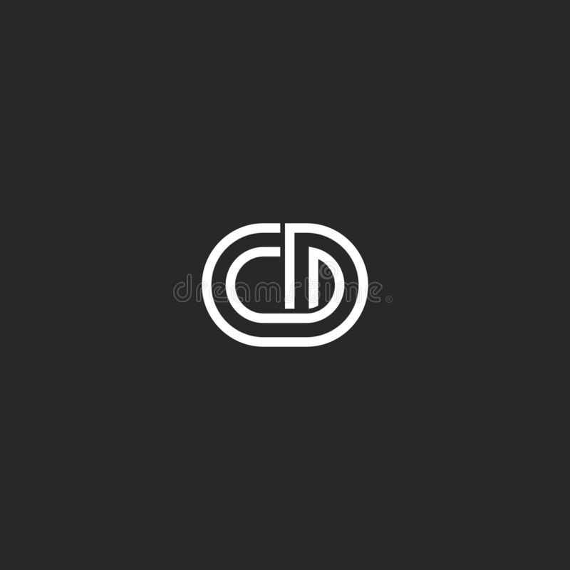Free Logo Monogram CD Or DC Letters Thin Lines Creative Stylish Design Element, Two Overlapping Marks C And D Together Stock Photo - 155875470