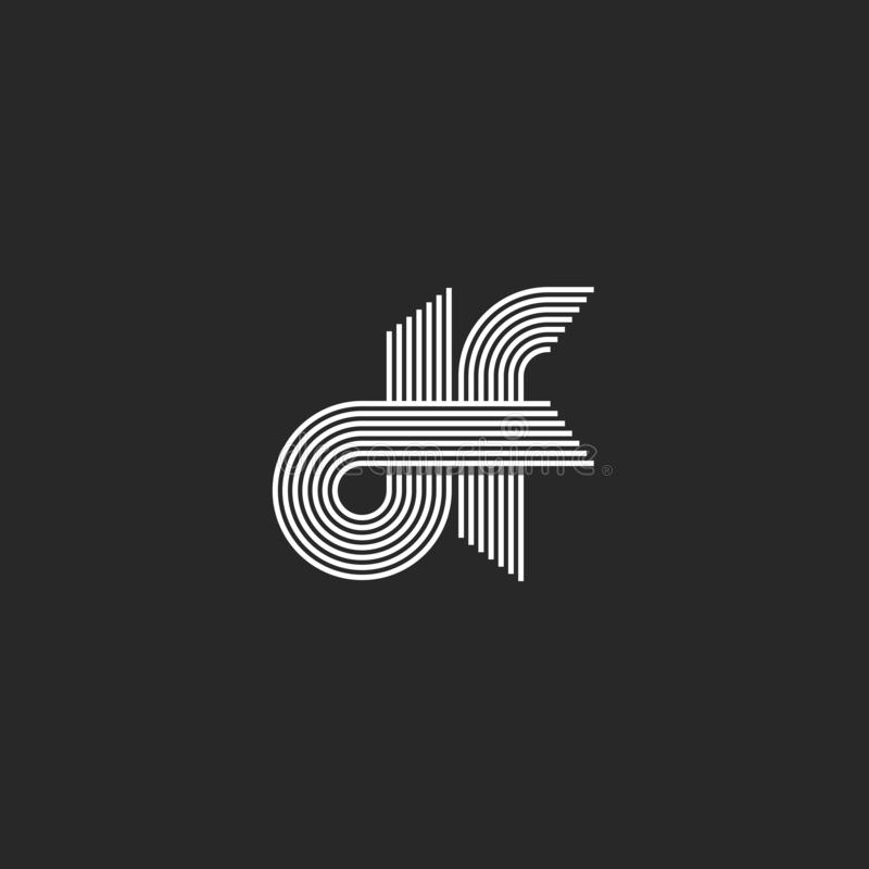 Logo monogram df letters lowercase, combination linked d and f outline initials visual name fd emblem, parallel offset thin lines. Style vector illustration