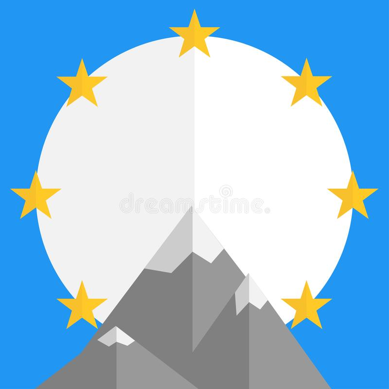 Logo for movie company with stars mountains royalty free illustration