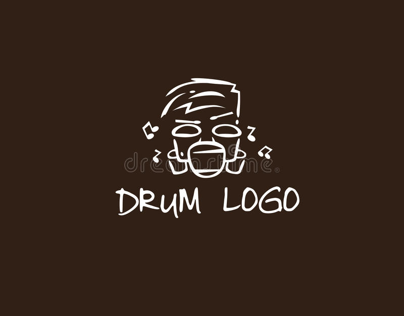 Logo music with drum like face royalty free stock photography