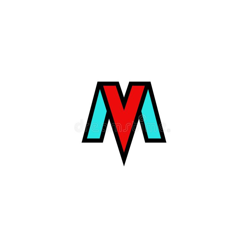 Free Logo MV Letters Elegant Flat Emblem, Combination Tech Initials M And V, Blue And Red Symbols VM Mark Stylish Construct Royalty Free Stock Photography - 141061357