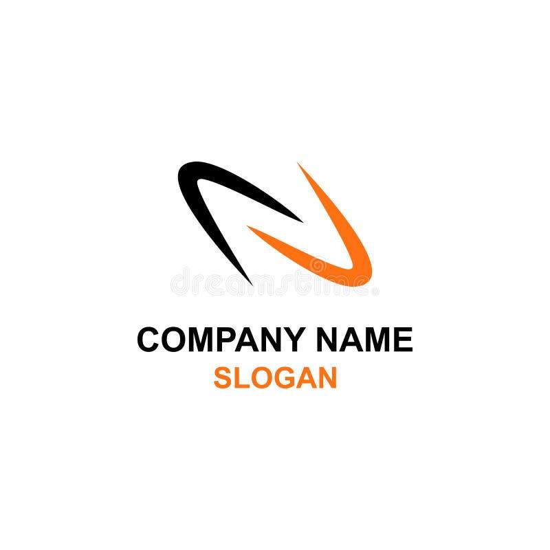Logo négatif de l'espace d'initiale de lettre de N illustration stock