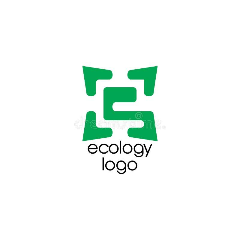 Logo négatif de l'espace de feuille de la lettre e illustration libre de droits