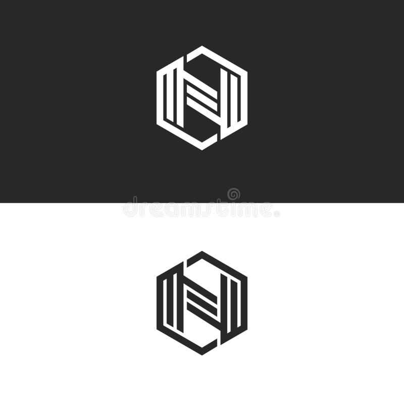 Logo N letter monogram geometric shape of a hexagon, black and white parallel lines form a technological symbol. Alphabet icon vector illustration