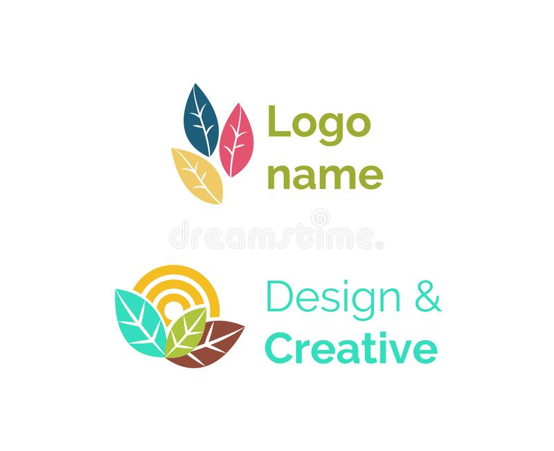 Logo Name, conception et de Logotypes ensemble créatif à plat illustration libre de droits