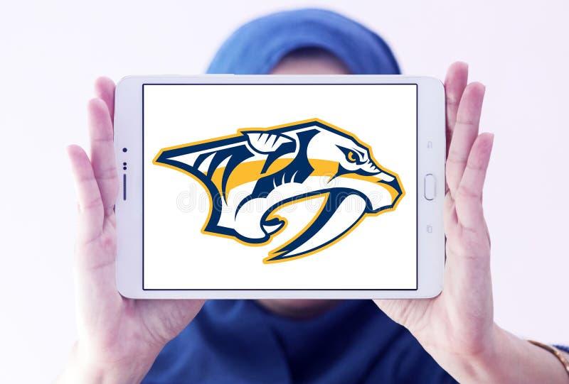 Nashville Predators ice hockey team logo. Logo of Nashville Predators club on samsung tablet holded by arab muslim woman. The Nashville Predators are a stock photography