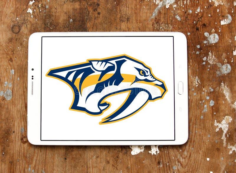 Nashville Predators ice hockey team logo. Logo of Nashville Predators club on samsung tablet. The Nashville Predators are a professional ice hockey team royalty free stock image