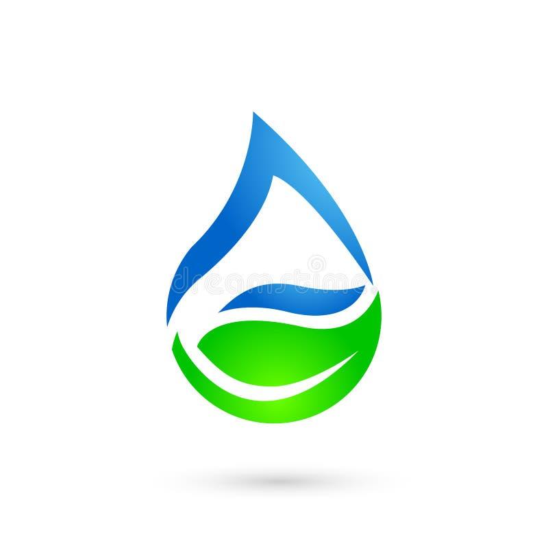 Logo naturale, sano e di goccia della foglia, dell'acqua - vettore illustrazione vettoriale