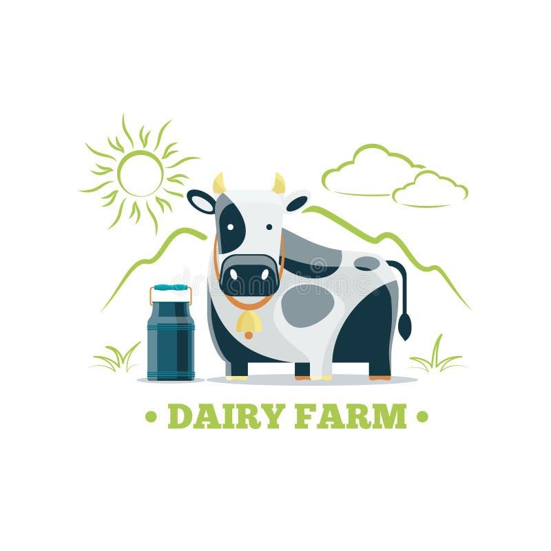 Logo naturel frais de ferme d'eco de lait avec la vache illustration stock