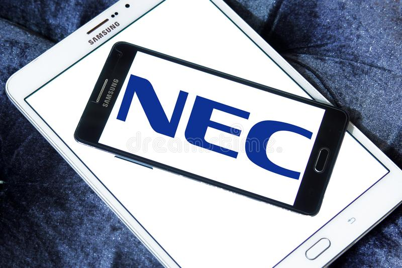 NEC Corporation logo. Logo of NEC Corporation on samsung mobile on samsung tablet. NEC Corporation is a Japanese multinational provider of information technology stock image