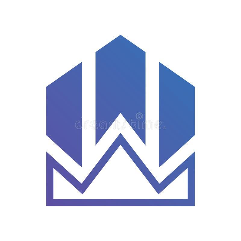 Logo negativo blu del grafico della corona dello spazio della lettera W illustrazione vettoriale