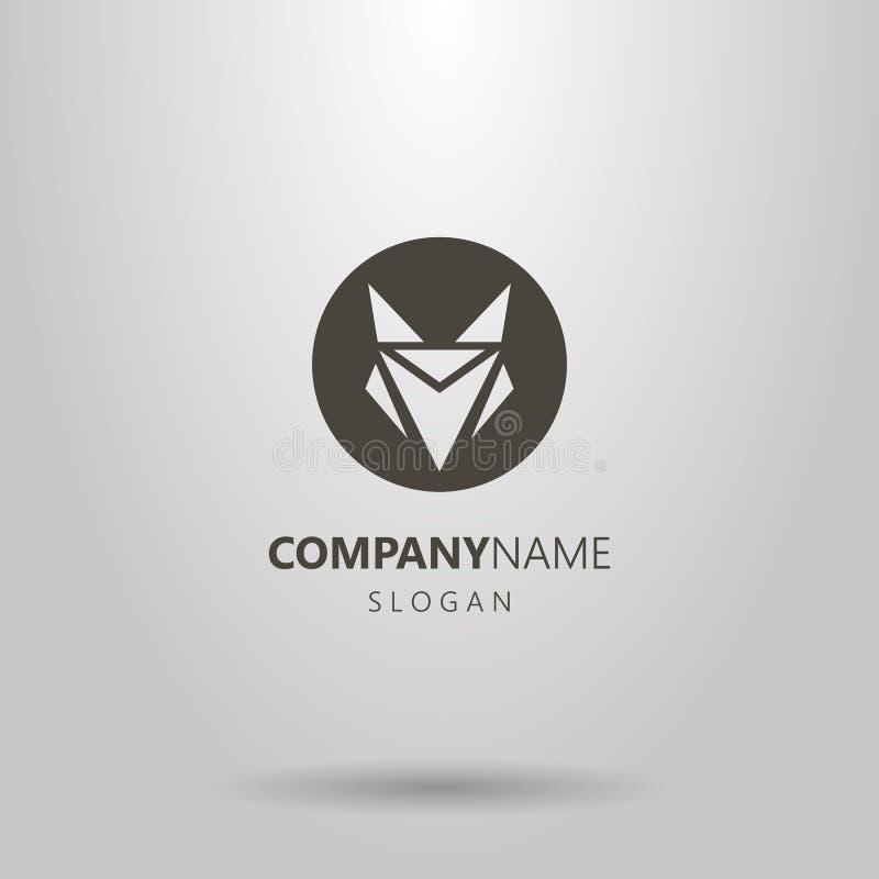 Logo negativo rotondo dello spazio di una testa astratta della volpe illustrazione vettoriale