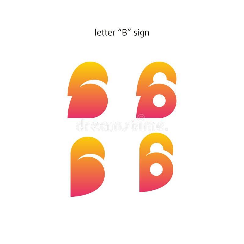 Logo nello stile moderno, insieme dei segni astratti, lettera B illustrazione vettoriale