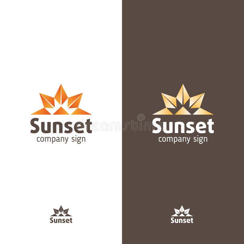 Logo nello stile moderno, nel tramonto astratto dei segni o nell'alba royalty illustrazione gratis