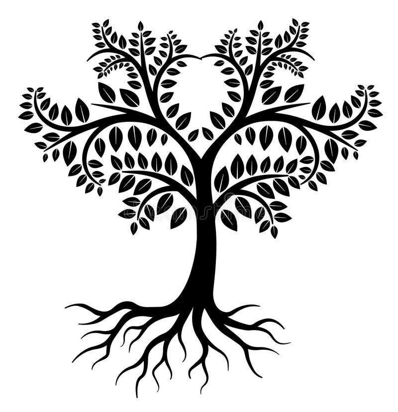 Logo nero dell'albero illustrazione vettoriale