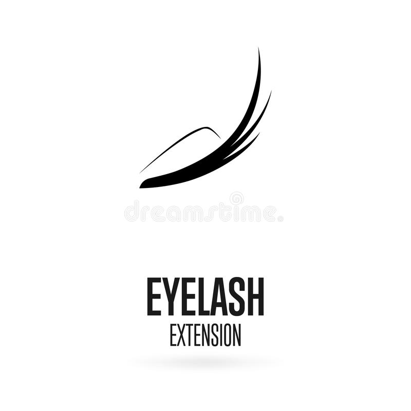 Logo nero di estensione del ciglio su fondo bianco immagine stock libera da diritti