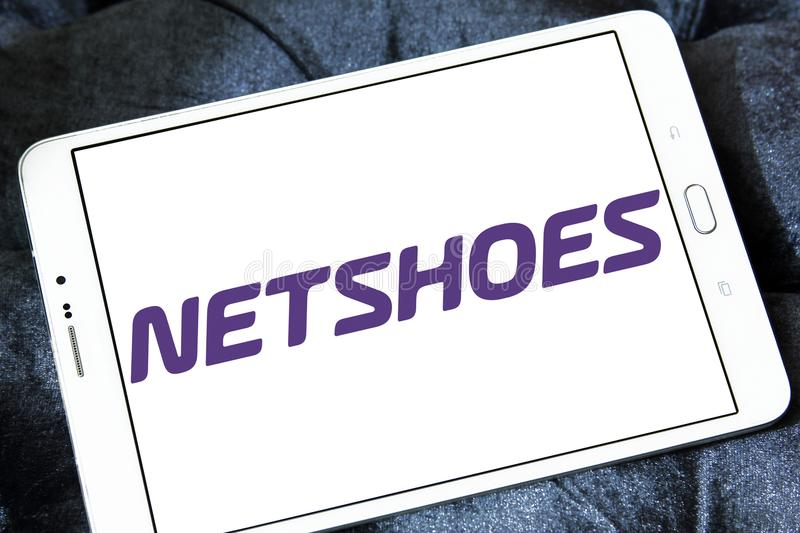 Netshoes retailer logo. Logo of Netshoes retailer on samsung tablet. Netshoes is a Brazilian ecommerce sporting goods conglomerate royalty free stock images