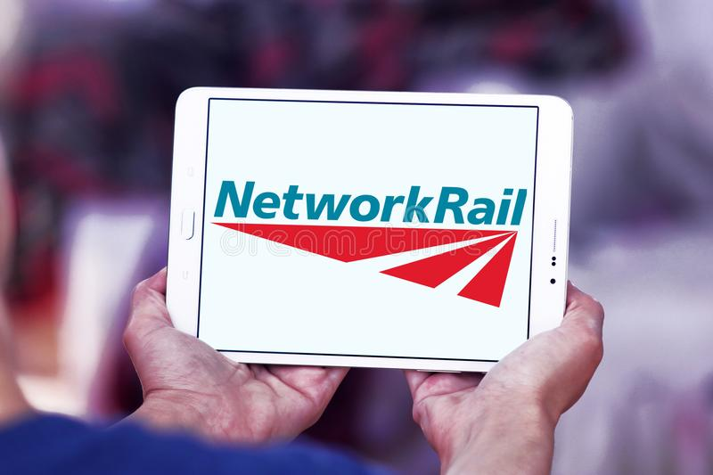 Network Rail logo. Logo of Network Rail on samsung tablet. Network Rail is the owner and infrastructure manager of most of the rail network in England, Scotland royalty free stock photos