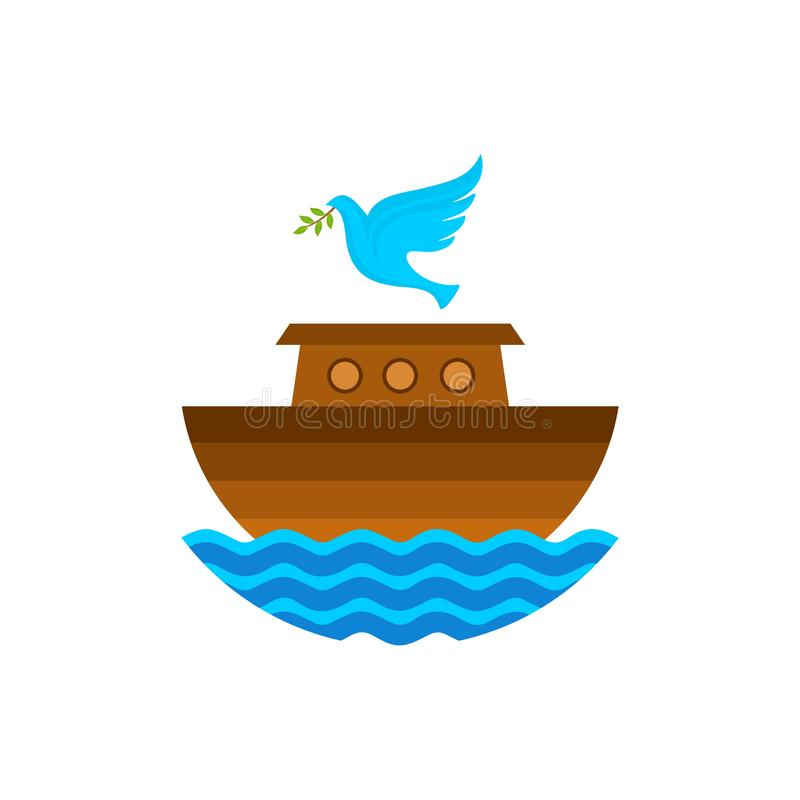 Logo of Noah`s Ark. Dove with a branch of olive. Ship to rescue animals and people from the Flood. Biblical illustration.  vector illustration