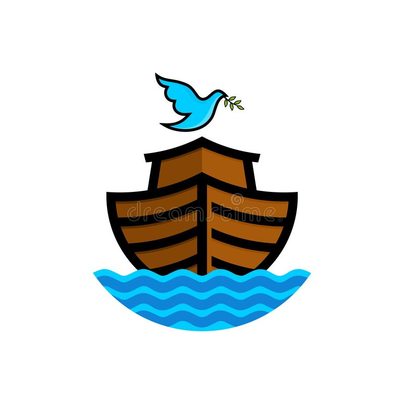 Logo of Noah`s Ark. Dove with a branch of olive. Ship to rescue animals and people from the Flood. Biblical illustration.  stock illustration