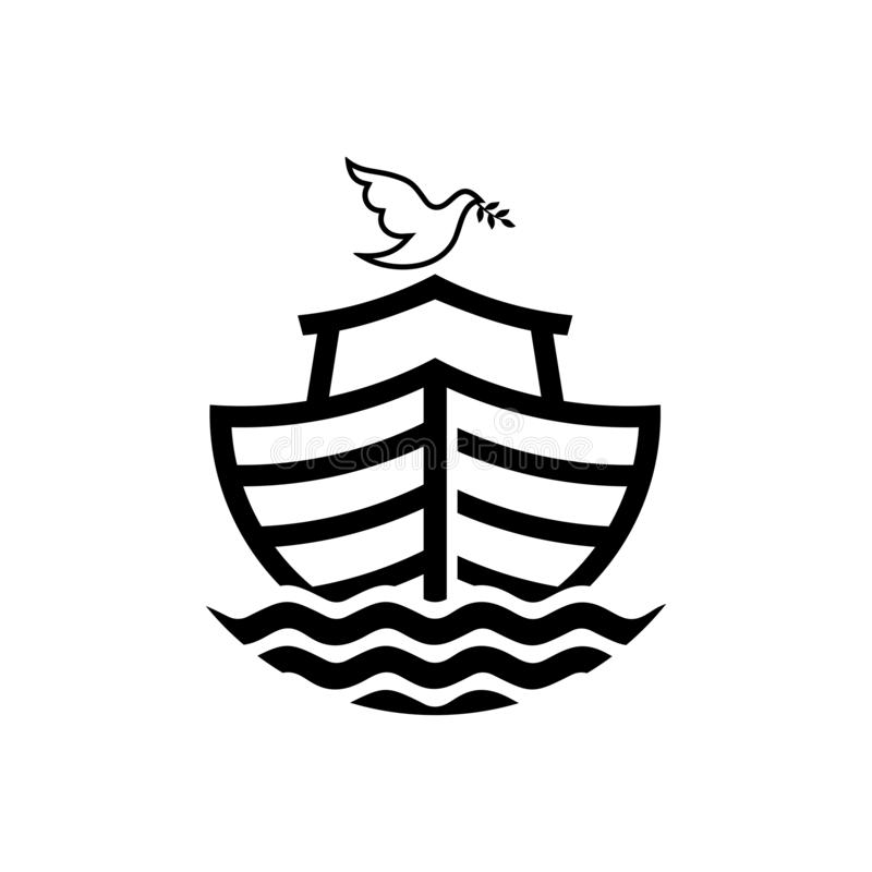 Logo of Noah`s Ark. Dove with a branch of olive. Ship to rescue animals and people from the Flood. Biblical illustration.  royalty free illustration
