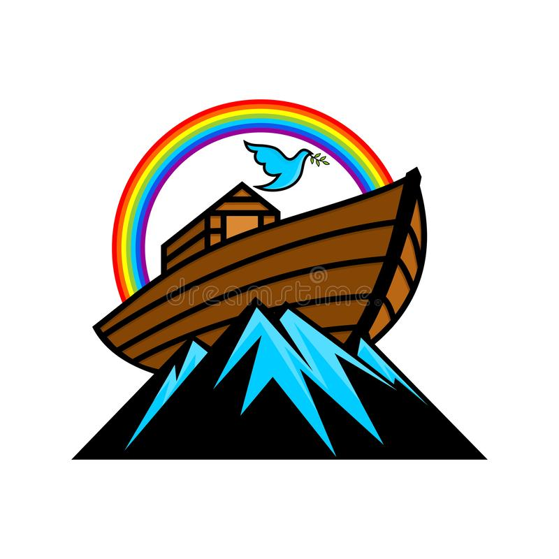 Logo of Noah`s Ark. Rainbow - a symbol of the covenant. Dove with a branch of olive. Ship to rescue animals and people. From the Flood. Biblical illustration vector illustration