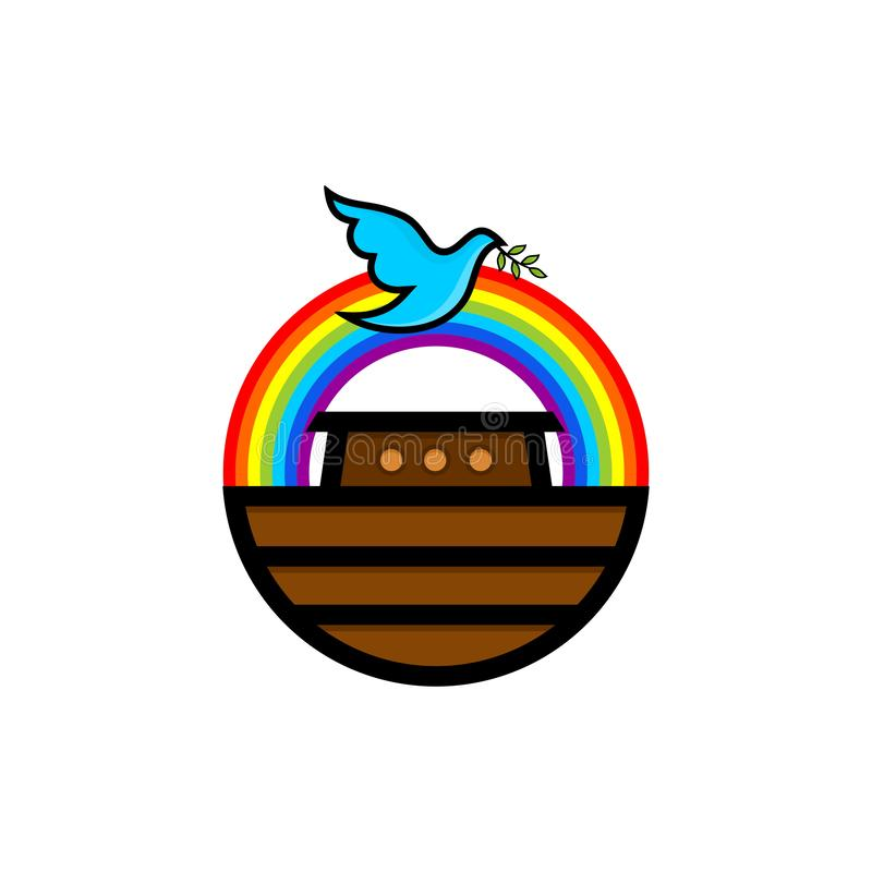 Logo of Noah`s Ark. Rainbow - a symbol of the covenant. Dove with a branch of olive. Ship to rescue animals and people. From the Flood. Biblical illustration royalty free illustration