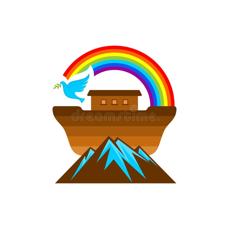 Logo of Noah`s Ark. Rainbow - a symbol of the covenant. Dove with a branch of olive. Ship to rescue animals and people. From the Flood. Biblical illustration stock illustration