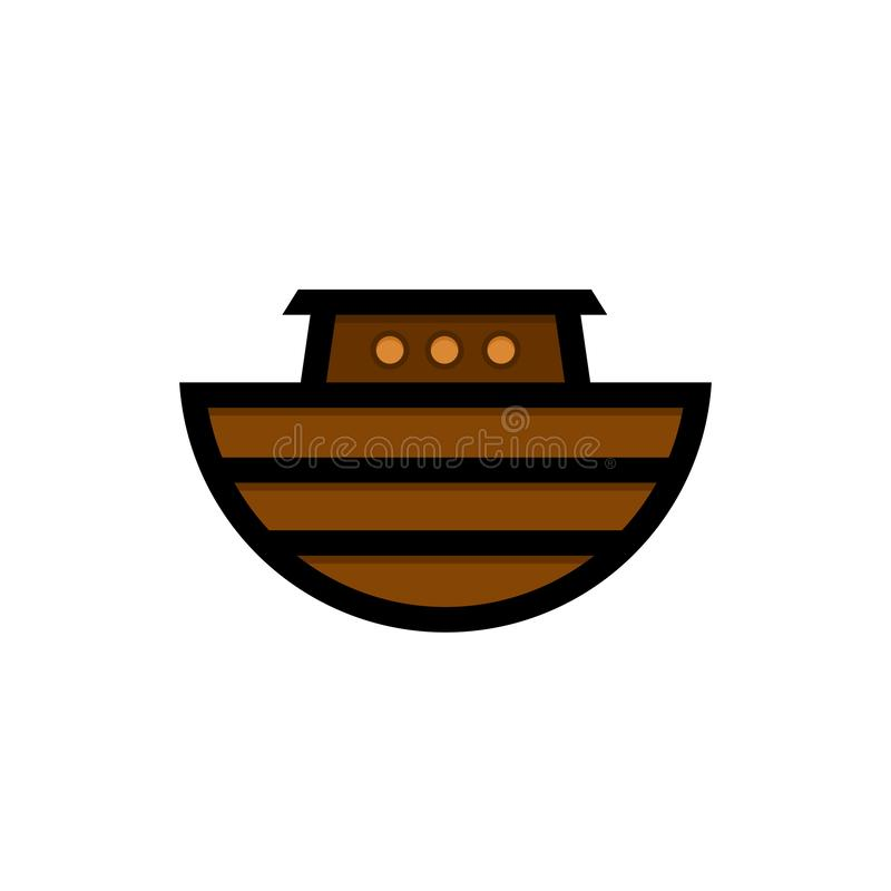 Logo of Noah`s Ark. Ship to rescue animals and people from the Flood. Biblical illustration.  vector illustration