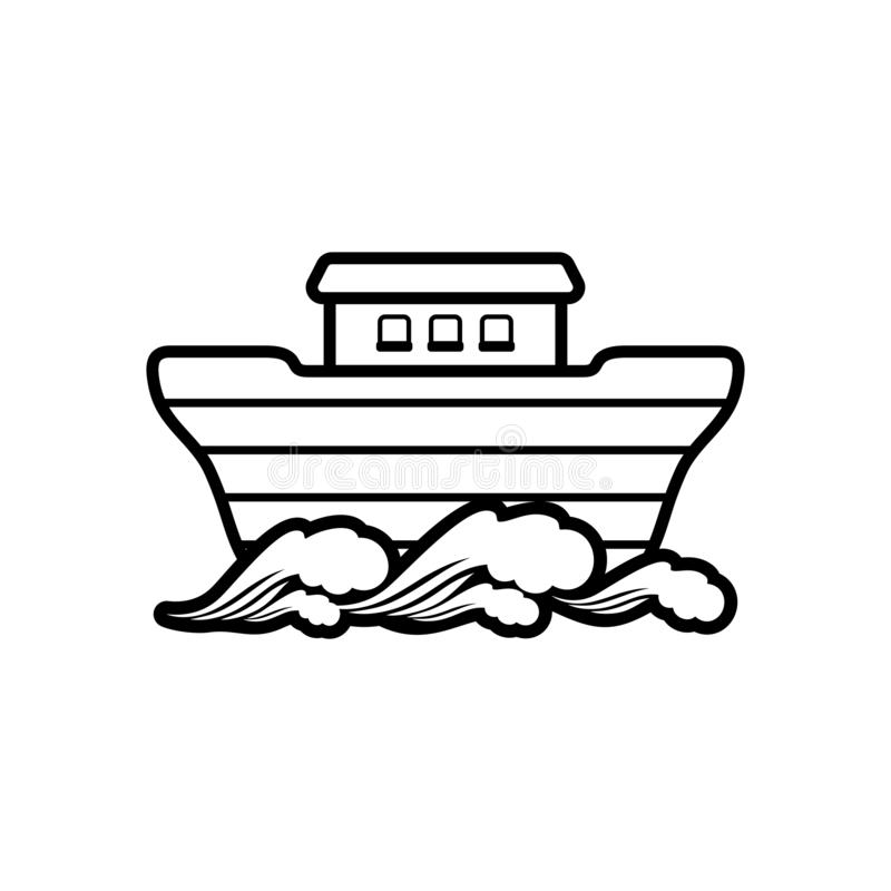 Logo of Noah`s Ark. Dove with a branch of olive. Ship to rescue animals and people from the Flood. Biblical illustration. Logo of Noah`s Ark.  Ship to rescue royalty free illustration
